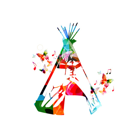 teepee: Colorful indian tapee with butterflies