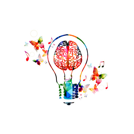 Colorful light bulb with brain symbol