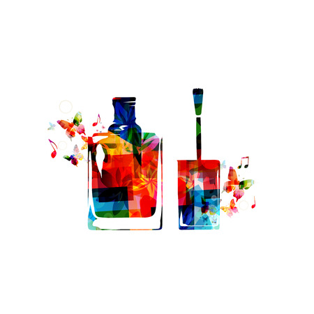 Colorful bottle of nail polish with brush Illustration