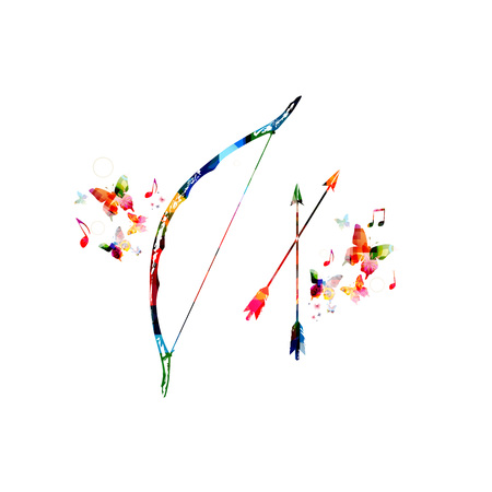 weapons: Colorful bow and arrow with butterflies Illustration