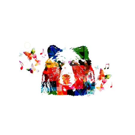 head close up: Colorful bear head close up Illustration