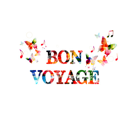voyage: Colorful inscription with butterflies