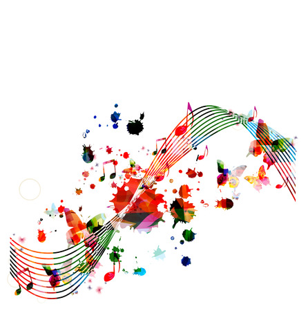 crotchets: Colorful background with music notes