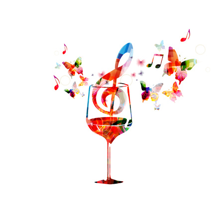wine background: Colorful wine glass with music notes