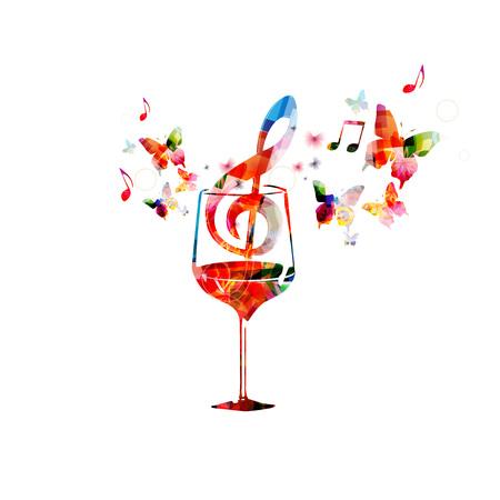 Colorida copa de vino con notas musicales. Ilustración de vector