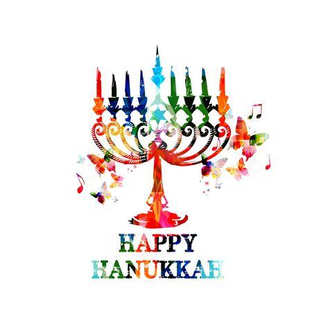 hanukkah menorah: Colorful Hanukkah menorah with candles Illustration