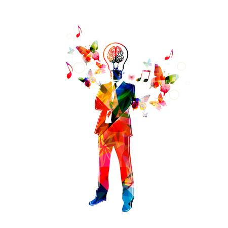 light bulb: Colorful man with light bulb head