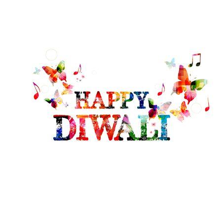 ganapati: Colorful Happy Diwali inscription Illustration