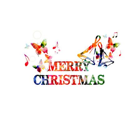 christmas garland: Colorful Merry Christmas inscription Illustration