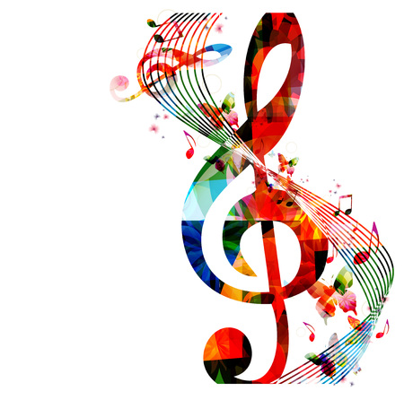 instruments de musique: Fond color� avec des notes de musique
