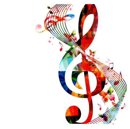 simbolos musicales: Fondo colorido con las notas de la música Vectores