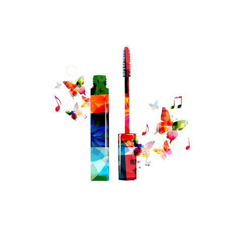 mascara: Colorful mascara design with butterflies