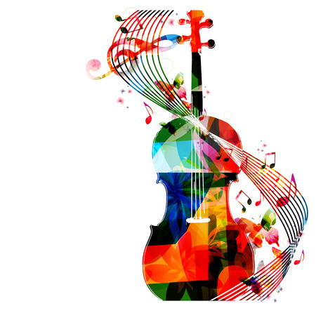 symphony: Colorful violoncello with music notes