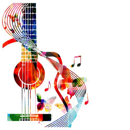 蝶とカラフルなギター  イラスト・ベクター素材