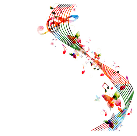 instruments de musique: Fond coloré avec des notes de musique