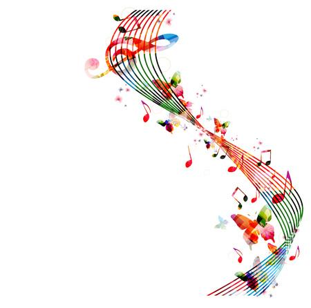 instrumentos musicales: Fondo colorido con las notas de la música Vectores