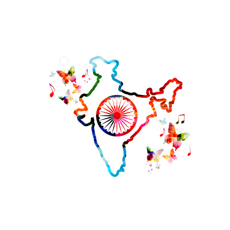 indian flag: Colorful map of India with butterfliess Illustration