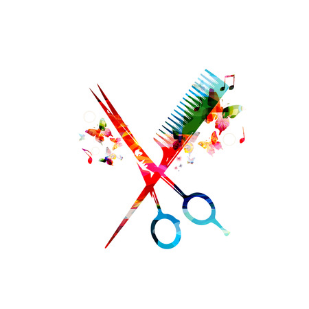 hair cut: Colorful  comb and scissors design