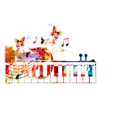 Colorful violoncello and synthesizer keys design with butterflies