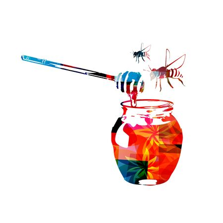 dipper: Colorful honey dipper and honey in jar with bees