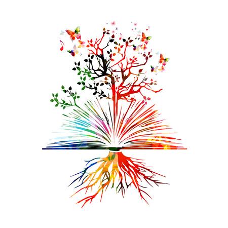 literatura: vector del libro colorido con las mariposas