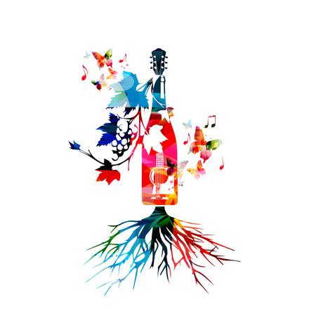 Kleurrijke wijnfles met wijnstokken