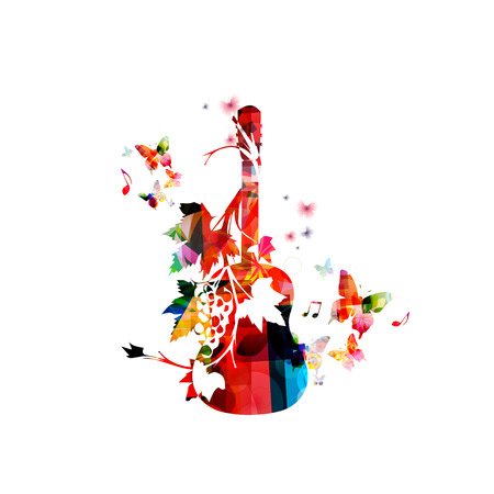 music background: Colorful guitar with vines Illustration