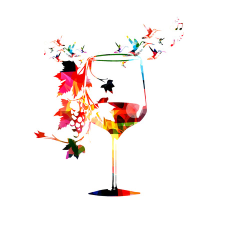 wine grape: Colorful wineglass with vines