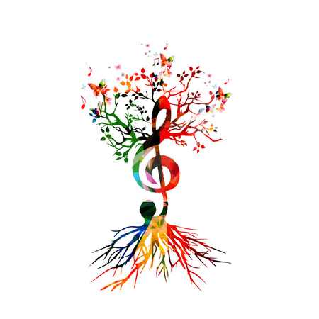 key: Colorful background with music notes