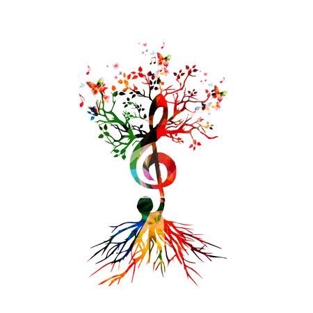 Fondo colorido con las notas de la música Foto de archivo - 50243074