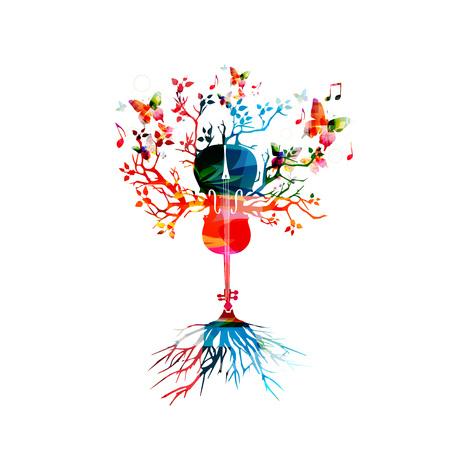 chiave di violino: Violoncello colorato con le farfalle