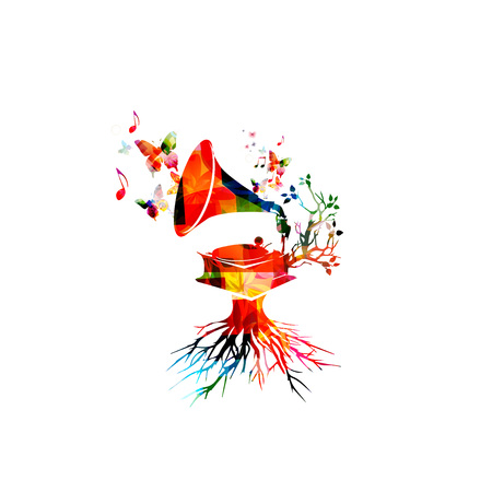 gramophone: Colorful gramophone design with butterflies Illustration