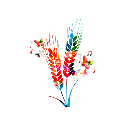 vector art: Colorful rye with butterflies Illustration