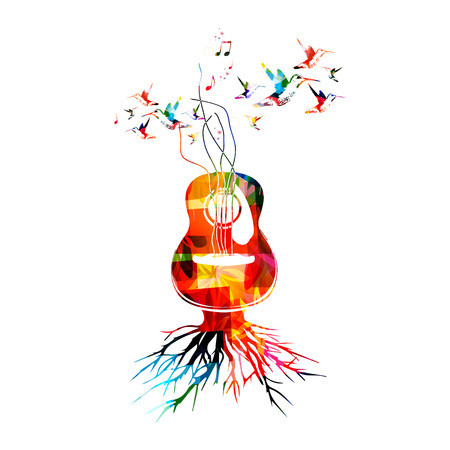 g clef: Colorful music background with guitar