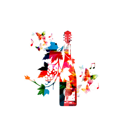 Colorful winebottle with vines Illustration