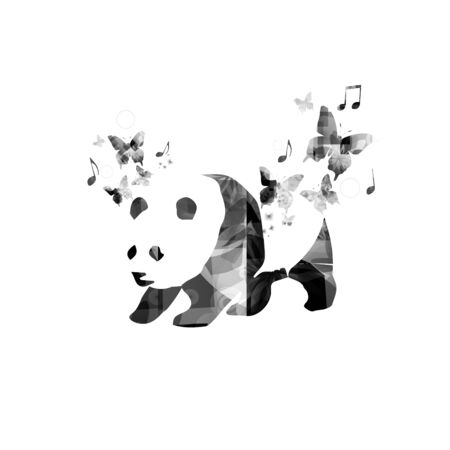 contours: Black and white panda with butterflies