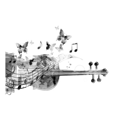 violoncello: Black and white violoncello with butterflies