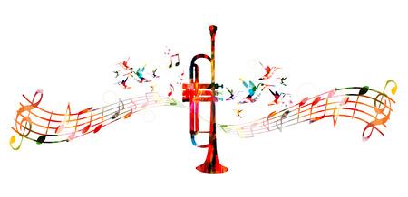 Kleurrijke trompet ontwerp met kolibries Stock Illustratie