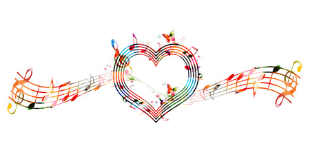 heart tone: Colorful background with music notes