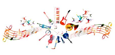 Kleurrijke muziek instrumenten ontwerp Stock Illustratie
