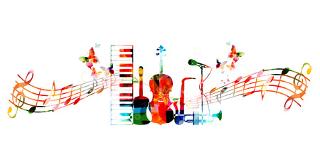 musical notes background: Colorful music instruments design