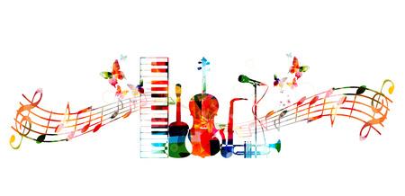 nota musical: diseño de instrumentos musicales colorido Vectores