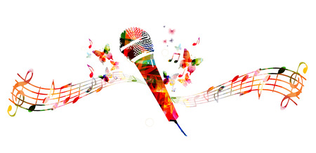 singer with microphone: Colorful microphone design with butterflies Illustration