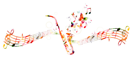 notation: Colorful saxophone design with butterflies Illustration