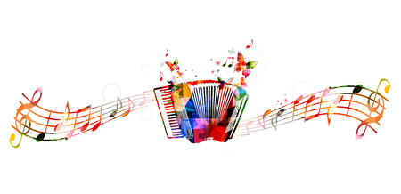 accordion: Colorful accordion design with butterflies