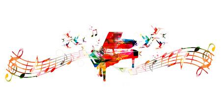 다채로운 피아노 디자인입니다. 음악 배경 일러스트