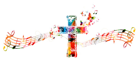 people in church: Colorful cross with music notes