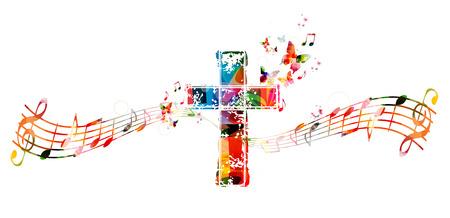 Kleurrijk kruis met muzieknoten Stock Illustratie