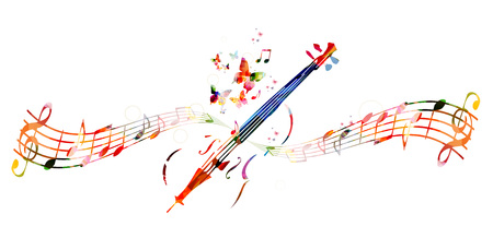 violoncello: Colorful violoncello with music notes