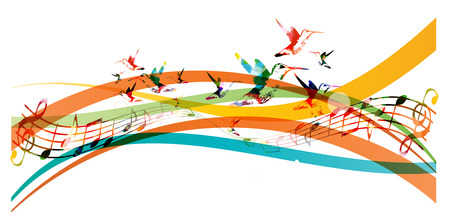 Colorful background with music notes and hummingbirds Stock Illustratie